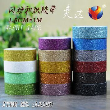 10 pcs/lot DIY Japanese Paper Decorative Adhesive Tape Glitter Washi Tape/Masking Tape Stickers Size 15mm*3m L8180