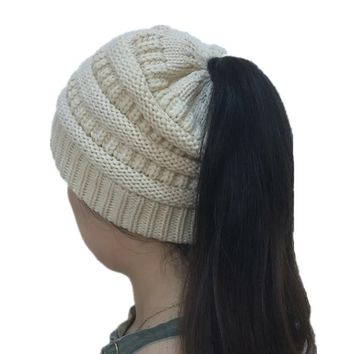 Ponytail Beanie Hat Women's Winter Knitted Hats Warm Cotton Knit Caps Female Woolen Crochet Hats Slouchy Ladies Knit Baggy Cap