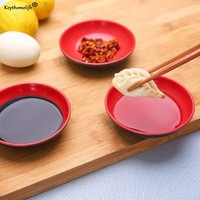 Keythemelife 4pcs Kitchen Bowl Dish Creative Red and Black Color Seasoning Soy Sauce Viegar Small Plates Kitchen Tool 5C