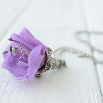 Purple Pendant Bellflower Campanuls Necklace Handmade unique Pendant womens gift ideas birthday wedding bridal gifts accessory