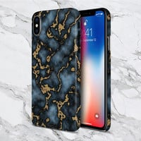 iPhone X case - Stranger Things - Protective iPhone Case - Galaxy s8 case - Google Pixel 2 Case - Blue x Gold Marble Swirl Phone Case