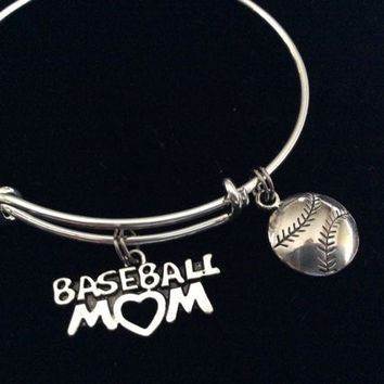 Baseball Mom on a Silver Expandable Bangle Bracelet Sports Team Coach Gift Adjustable Wire Charm Bangle