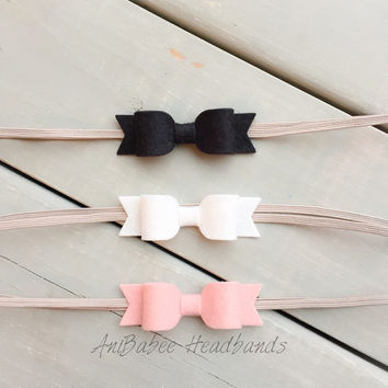 Blush Baby Bow Headband Set, Baby Headband, Baby Bow Headband Set, Baby Headband Set, Bow headband set, felt headband, bow headband