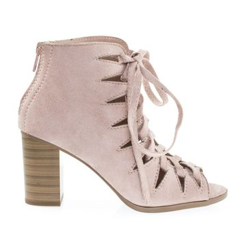 Hewitt2 Dust Mauve By Soda Women Peep Toe Caged Corset Lace Up Stacked Block Heels, Gladiator Shoes