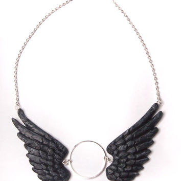Black Wings - Choker Necklace - Silver - Nickel and Lead Free