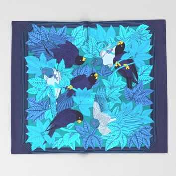 Tropical Art - Plants - Birds - Parrots Throw Blanket by Salome