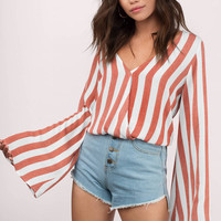 Lucy Striped Bell Sleeve Top