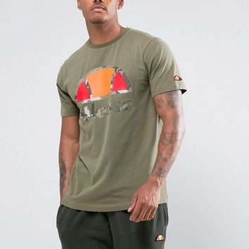 Ellesse T-Shirt With Large Camo Logo In Green at asos.com