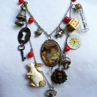 Vintage Alice in Wonderland Bib Charm Assemblage by scottyscottage