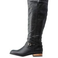 Black Belt-Wrapped Flat Riding Boots by Charlotte Russe
