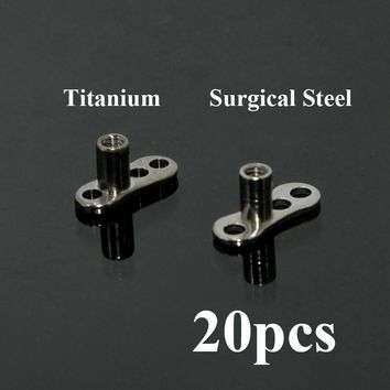 20pcs G23 Titanium & Surgical Steel Micro Dermal Anchor Skin Diver Base Surface Piercings Retiners Hide-it Body Jewelry