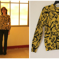 Vintage 1970s cat sweater black and yellow glorious honeybee kitty op art unique top size small- medium