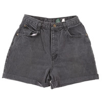 Rokit Recycled Washed Black Denim Turn-Up Shorts W30 | Rokit Recycled | Rokit Vintage Clothing