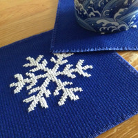 Table decor coaster Mazarine blue coaster Fabric coaster Cross stitch coaster Handmade coaster Square coaster Embroidered snowflake