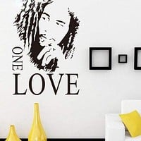 """16.9"""" x 24.0"""" BOB MARLEY ONE LOVE Removable Vinyl Art Quote Wall Sticker Decal"""