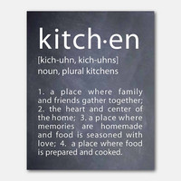 Typography wall art - kitchen definition - Kitchen Meaning - 8x10 - Kitchen Wall Art - The heart of the home - where family & friends gather
