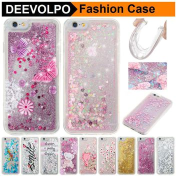 DEEVOLPO Quicksand Squishy Cases For iPhone 8 7 Plus 4S 5S 6S Pattern Covers For iPod Touch 5 6 Romantic Glitter Fundas DP03J
