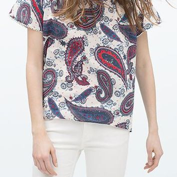 Women's Blouse - Paisley Print Peasant / Red White Blue / Elasticized Neckline