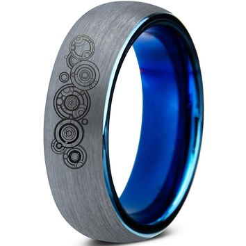 Doctor Who Galifrey Silver Blue Dome Tungsten Ring