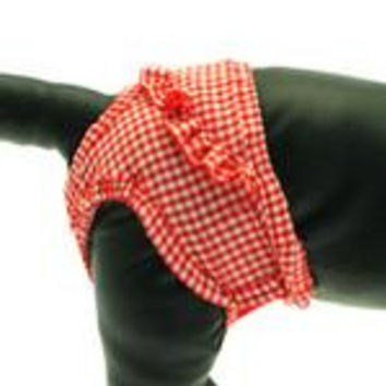 Puppe Love Checkered Dog Sanitary Pants - Red