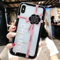 Chanel Popular Women Camellia Simple Transparent Glass Mobile Phone Case For  iPhone 6/ 6 Plus iPhone 7/8 iPhone 7 Plus/8 Plus iPhone X Pink I12701-1