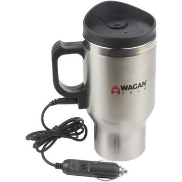 Wagan Tech(R) Wagan Tech 6100 12-Volt Deluxe Double-Wall Stainless Steel Heated Travel Mug