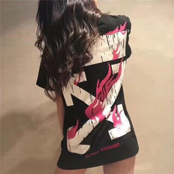 """""""OFF-WHITE"""" Unisex Casual Fashion Flame Pattern Print Couple Short Sleeve T-shirt Top Tee"""