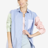 Pastel Button Up Block Blouse