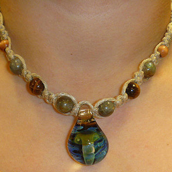 Hemp Necklace Large Glass Mushroom Pendant  with Wood and Stones