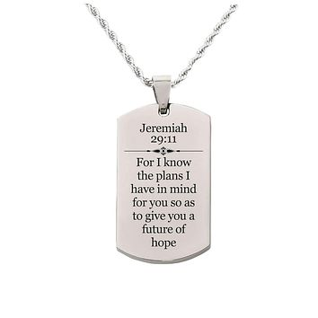 Solid Stainless Steel Scripture Tag Necklace  - Jeremiah 29:11