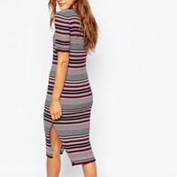 Vila Stripe Knitted Midi Dress at asos.com