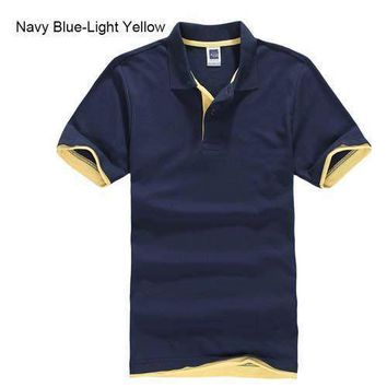 Navy Blue with Light Yellow Men's/ Women's Polo Shirt XS-3XL