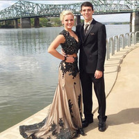 2016 New Arrival Two Pieces Sleeves Black Champagne Mermaid Beaded Long Evening Dresses Formal Prom Party Gown EE70