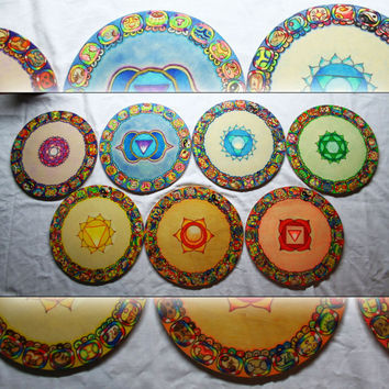 7 Chakras and Mayan Symbols SET - Pictures on wood