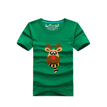 Christmas Kids Clothes 1-8Yrs Baby Boys Girls T shirts Christmas Milu Deer Clothing 100%Cotton Children Clothing Summer T shirts