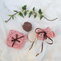 BATH SET // Pink bath set. Handmade Soap, Guest Soap, washcloth, cinnamon soap, organic cotton  washcloth, face scrub, Crochet  Soap Sack.