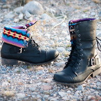 DBDK Kalande-1 Tribal Print Fold Over Combat Boot | Shoes 4 U Las Vegas