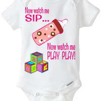 "Funny Baby Gift Gerber Onesuit brand body suit - ""Now Watch me SIP... Now watch me PLAY PLAY!""  Rap Hip-Hop Pop Culture Baby Girl Preemie -4T"