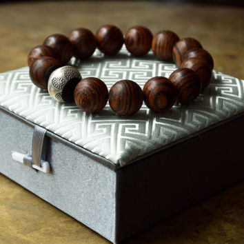 Mens Buddhist Bracelet Large Wood Bead From The Pillow Book