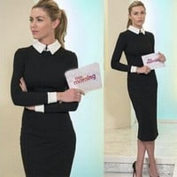 2015 hot sale lapel long-sleeved knit lady dress hit color sexy dress = 1754094980
