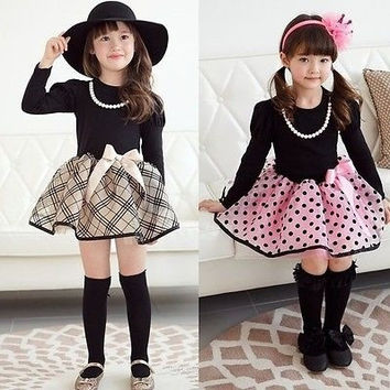 Christmas Baby Girls Princess Polka Dot Plaid Party Wedding Full Fancy Dress 2-7 = 1945757252