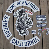 Sons of Anarchy Patch PU Embroidery Leather PU Patches for Jacket Full Size Biker Patches (Color: Multicolor) = 1932240196