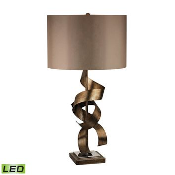 D2688-LED Allen Metal Sculpture LED Table Lamp in Roxford Gold - Free Shipping!
