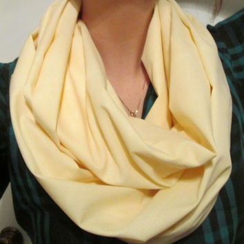 Pastel Yellow with White Pinstripes. Handmade, Infinity Scarf.