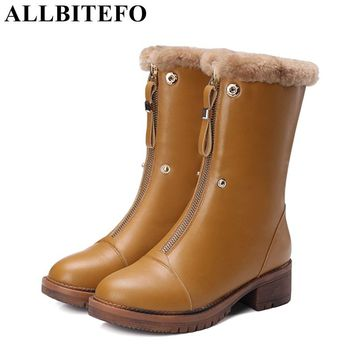 ALLBITEFO 2017 new winter snow boots genuine leather thick heel women boots brand medium heel real fur martin boots girls shoes