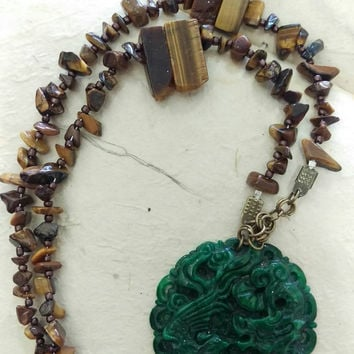 Green Jade Pendant, Tigers Eye Necklace, Dragon and Phoenix Pendant, Green Jade Necklace, Heart Chakra, Lucky Necklace, Asian Jewelry