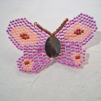 Butterfly brooch pin in the colours pink and purple, kids brooch, butterfly pin, handmade butterfly, beaded butterfly, seed bead brooch