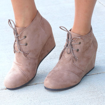 Sabrine Suede Wedge Booties {Taupe}