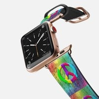 Casetify Apple Watch Band (38mm) - Peace Symbol Dripping Rainbow Paint by BluedarkArt