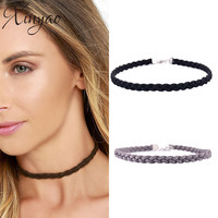 2016 Vintage Simple Black White Grey Suede Velvet Braided Choker Necklace For Women Weave Chocker Necklace Collares Mujer F6091